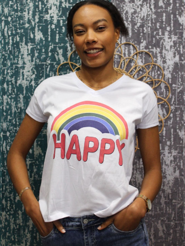 Hvid t-shirt/top Happy